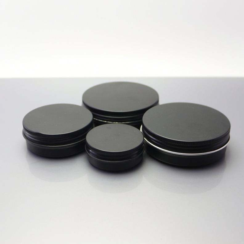 black aluminium cosmetic jar box aluminum tin for tin candle with clear pvc lid window AJ-162C