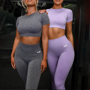 In Stock Custom Plus Size Sports Ladies Gym Yoga Suit Activewear Workout Clothing Women Active Wear Yoga Set