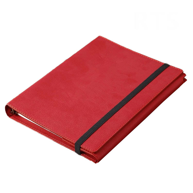 Wholesale A5 planner 6 ring binder notepad pu leather cover notebook with holder