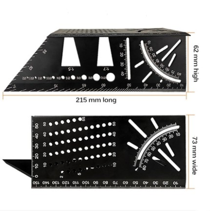 3D Angle Measuring Square Size Woodworking Measure Tool 90 Degree Gauge 3D Mitre Ruler