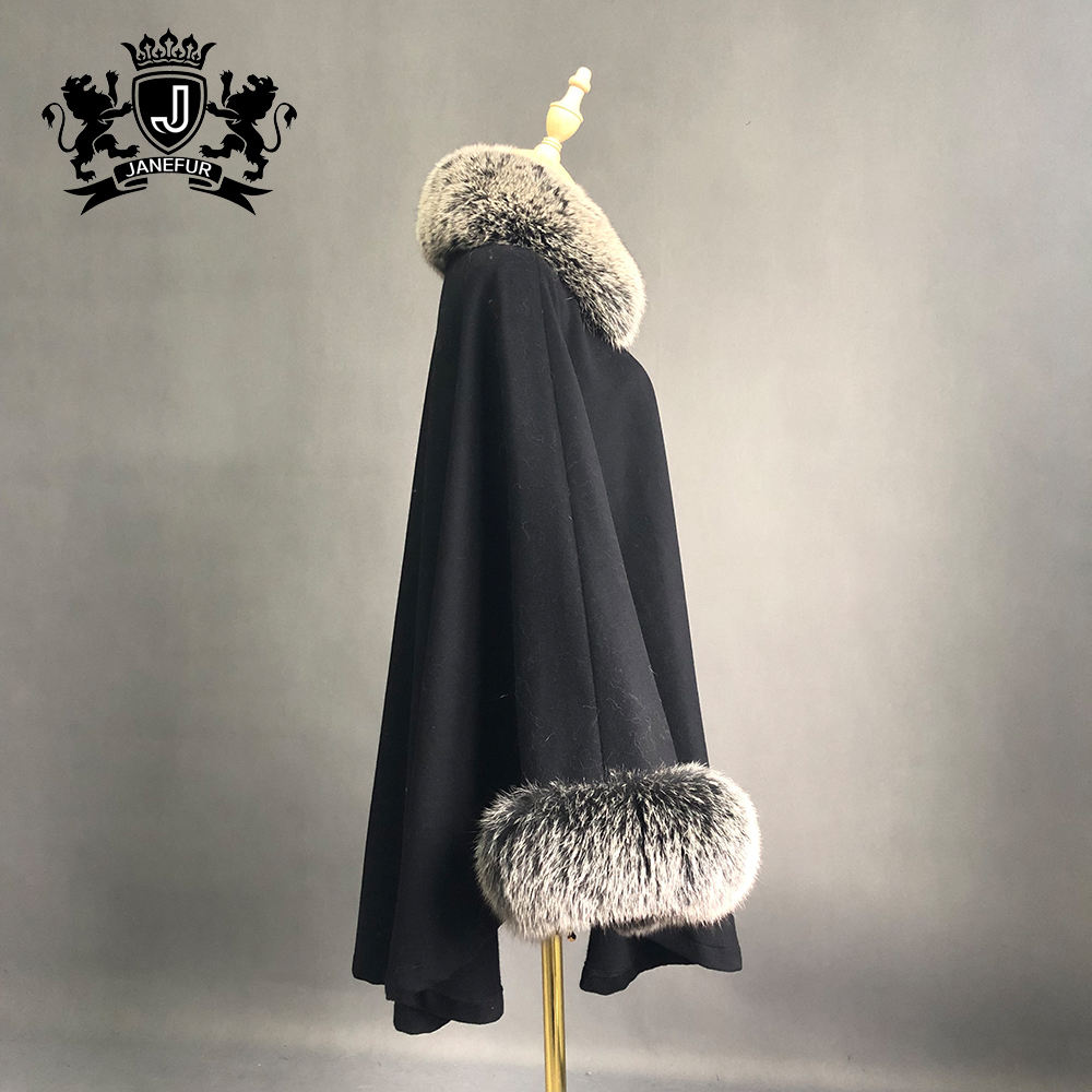 Winter cashmere poncho cape with real fur women real blue fox fur cuff and collar shawls