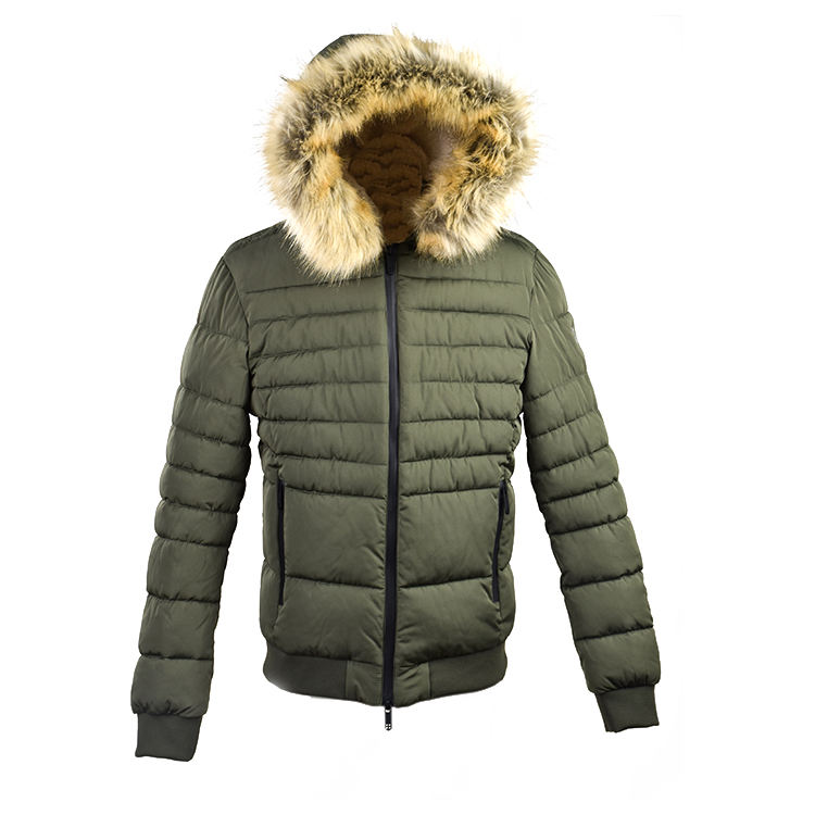 Mens Army Green Genuine Leather High Quality Winter Down Jacket With Real Fur Line Hood