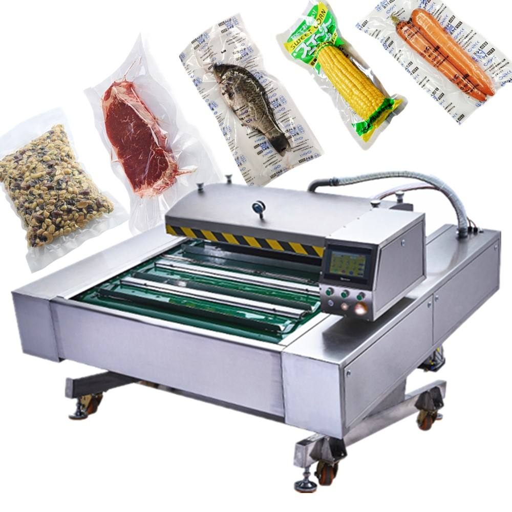 Food Shop [ Food ] Automatic Meat Packaging Machine Automatic Continuous Vacuum Sealing Machine Meat Fish Whole Chicken Conveyor Vacuum Packing Machine For Food