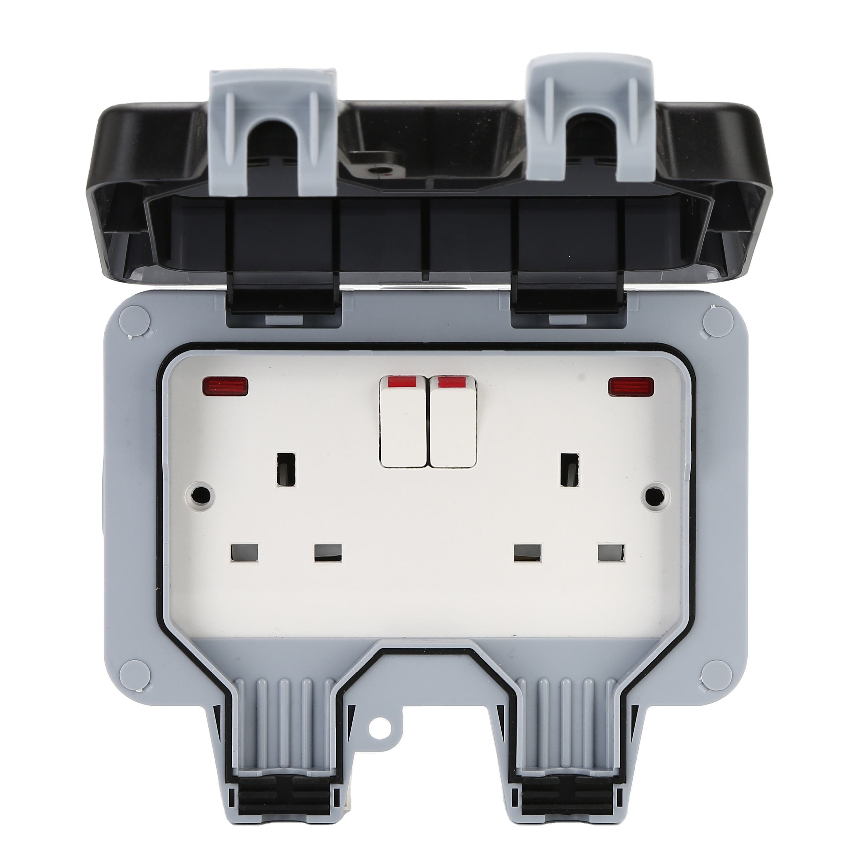 MP22-N Double 13A UK Type With Neon Waterproof switch socket box