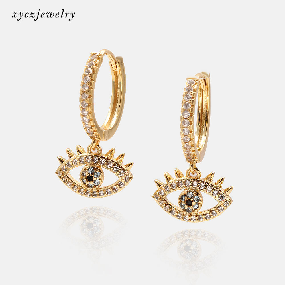 2020 New Arrival Micro Zirconia Pave Eyes Type CZ Brass Gold Plated Hoop Earrings