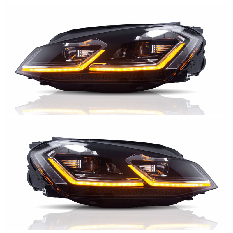 For 2018 Hot Sales VLAND L Type 7.5 style Sequential LED Xenon 2014-UP Head lamp Headlight for VOLKSWAGEN Golf 7 7.5 Mk7