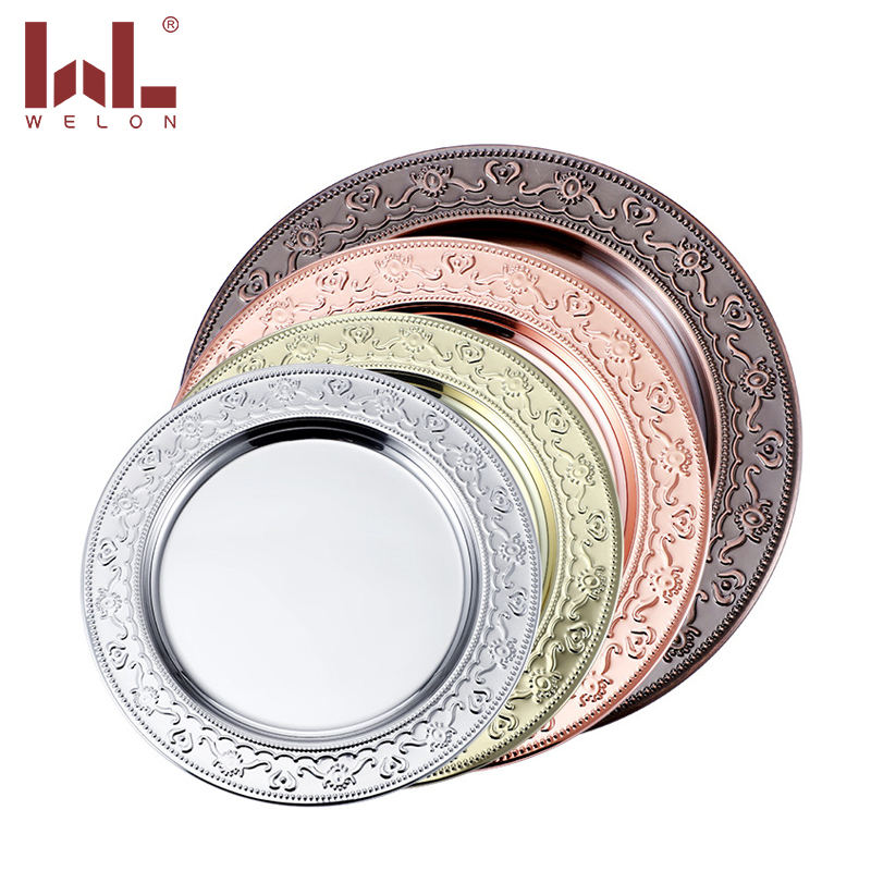 Factory wholesale good quality dish wedding party round stainless steel Golden and silver charger plates