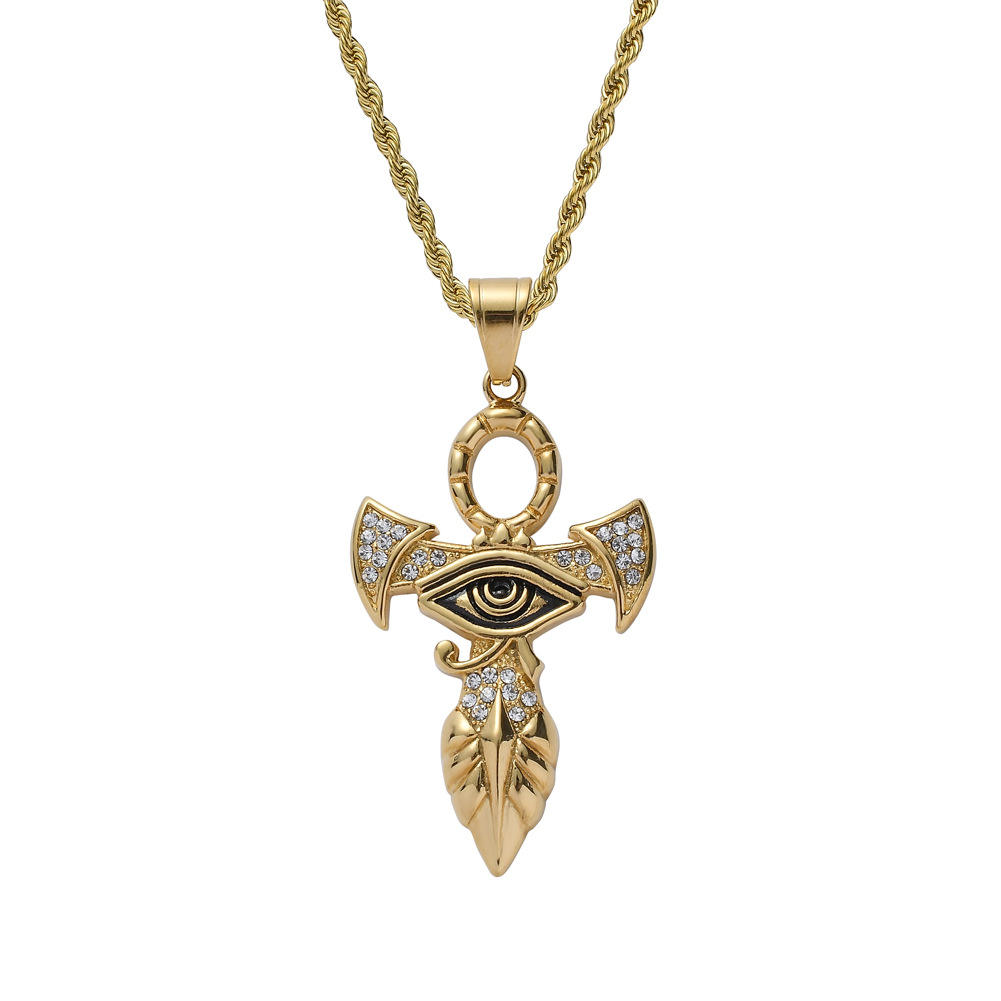 latest gold pendant designs Eye of Horus Gold/Stainless Steel Pharaoh Protection Amulet Necklace Ankh Cross Egyptian Jewelry