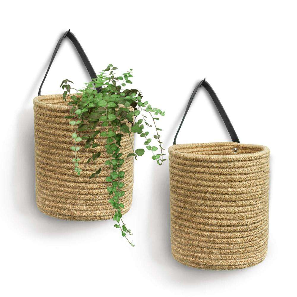 QJMAX Decorative Wall Hanging Cotton Rope Storage Baskets With Handle