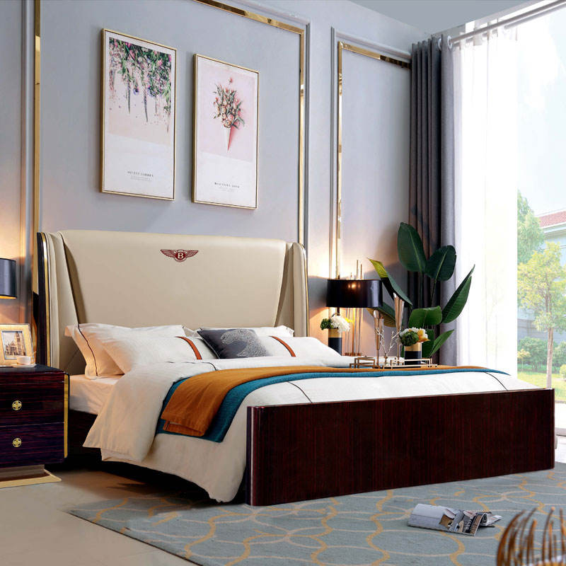 Italian minimalist style high-end light luxury king size wood bed modern queen double leather soft bed