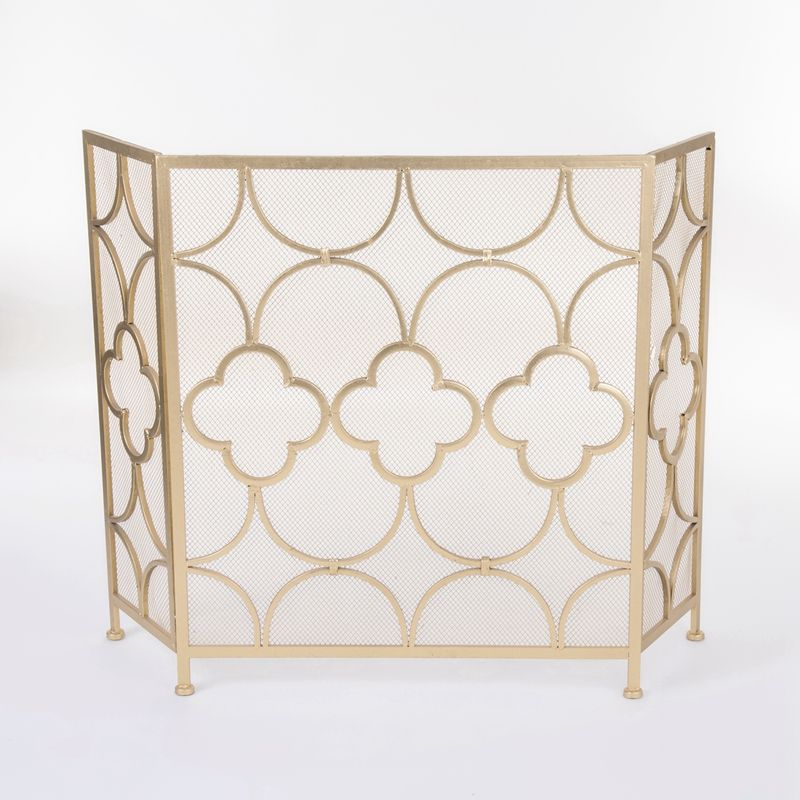 Modern Luxury Gold Wrought Iron Mesh Wire Fireplace Guard Screen