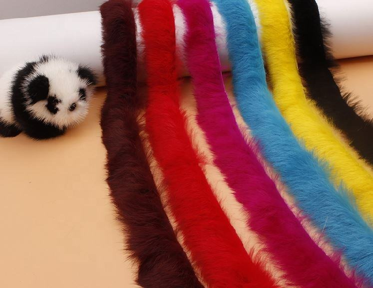 High quality customized real rabbit fur trim/rabbit fur trimming/rabbit fur strips