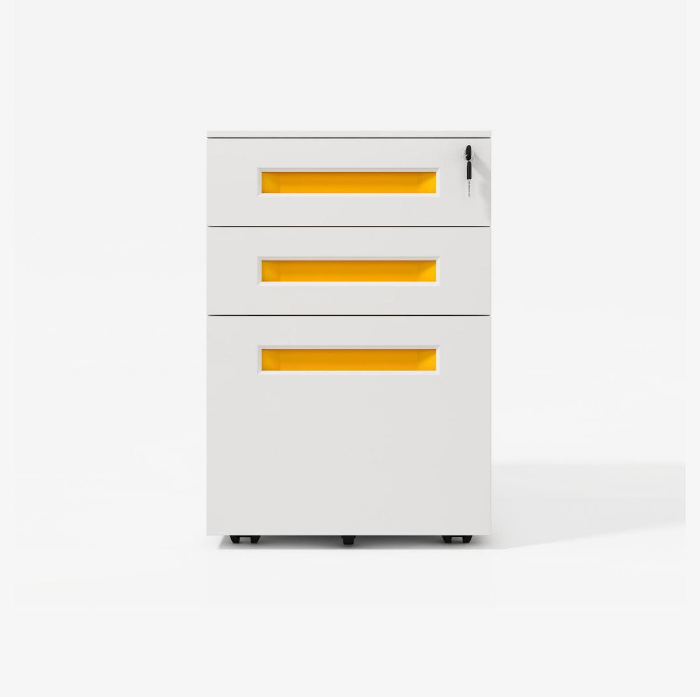Mueve el archivador de metal con cerraduras y mueve la base del gabinete del cajón