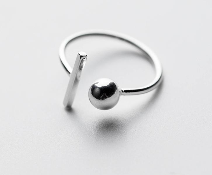 925 sterling silver thư đơn giản bóng 18 krgp dòng engagement white gold nhẫn của người phụ nữ