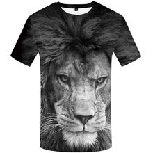 Man Shirt Summer Casual 3D Lion Print Short Sleeve T Shirt White Tees Man Fruit of the Loom T-shirts