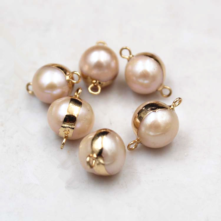 Natural Freshwater Pearl Connector Double Sided Connector 14K Gold Plated Bezel Baroque Pearl Connectors
