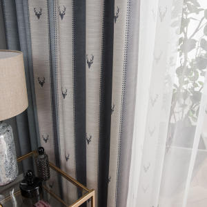 European Elk Stripe Printed Black Out Kids Bedroom Living Room Luxury Curtain Fabric Gauze Organza White Sheer Window Curtains