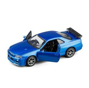 Pull Back Function Vehicle Toys 1:36 Scale Brian's 2002 Skyline R34 Die-cast Car Model with Openable Doors