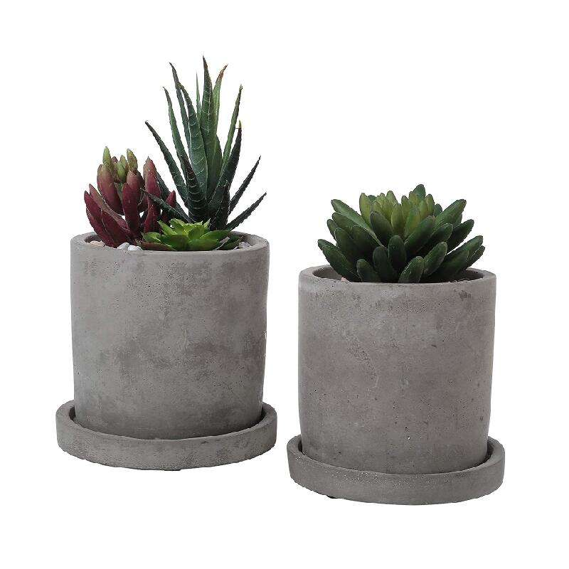 Promotional 4-5 Inch Decorative Flower Pot Cement Concrete Planters With Saucer
