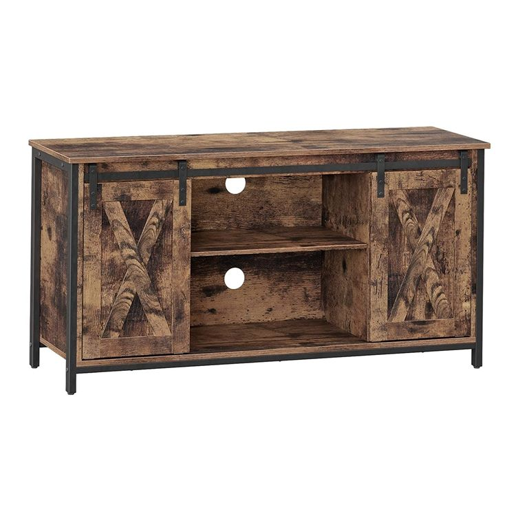 Hot sale Rustic Center Console TV Cabinet 75 Inches TV Stand furniture with Sliding Barn Doors Media Adjustable Shelf