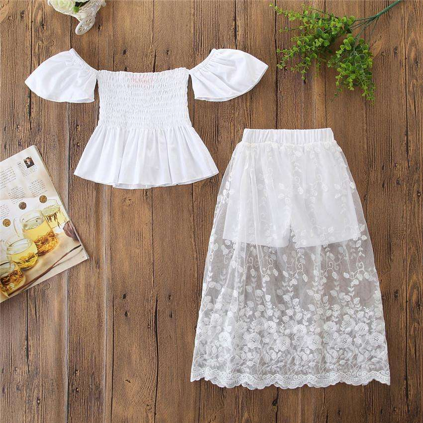 Baby Girl Short Sleeve Off Shoulder Solid White T-shirt Lace Tops Skirts Suit Summer lace skirt Girls Outfits