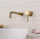 Direct buy china Brushed Gold Wall wash tap Mounted Black Faucet Tap 360 Rotation Cross Handles wash basin mixer tap fixing