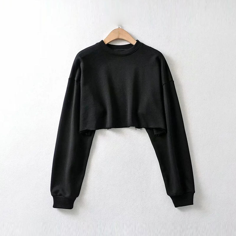 High quality cotton crew neck crop top sweatshirt women custom plain crewneck cropped french terry sweatshirt hoodie t-shirts