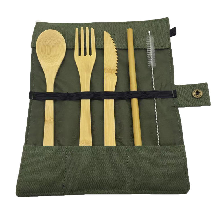 Eco Friendly Custom Logo Bamboo Travel Utensils Kit Zero Waste Reusable Bamboo Cutlery Set With Canvas Bag