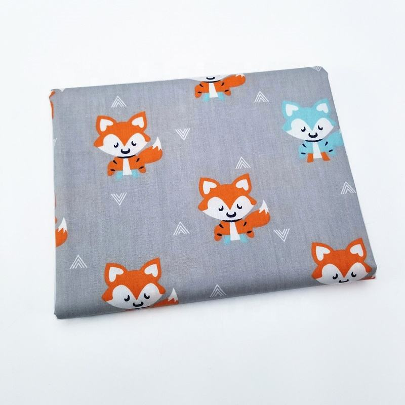 Gray Baby Bedding Fabric Cartoon Printing 100% Cotton Twill Cloth Sewing Children's Products Fabric