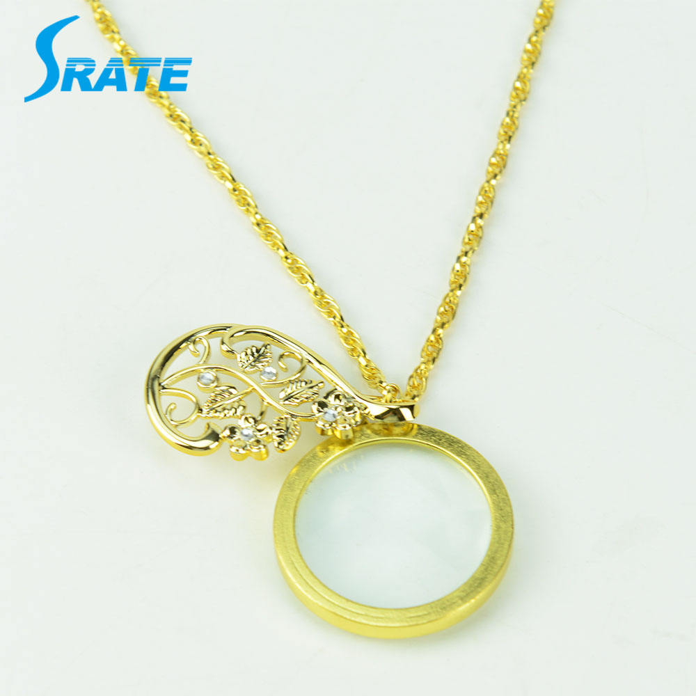 Crystal Reading Magnifier Jewellery Pendant Necklace Handsfree Magnifying Glass Sweater Ornaments Chain for Women, Golden,Sliver