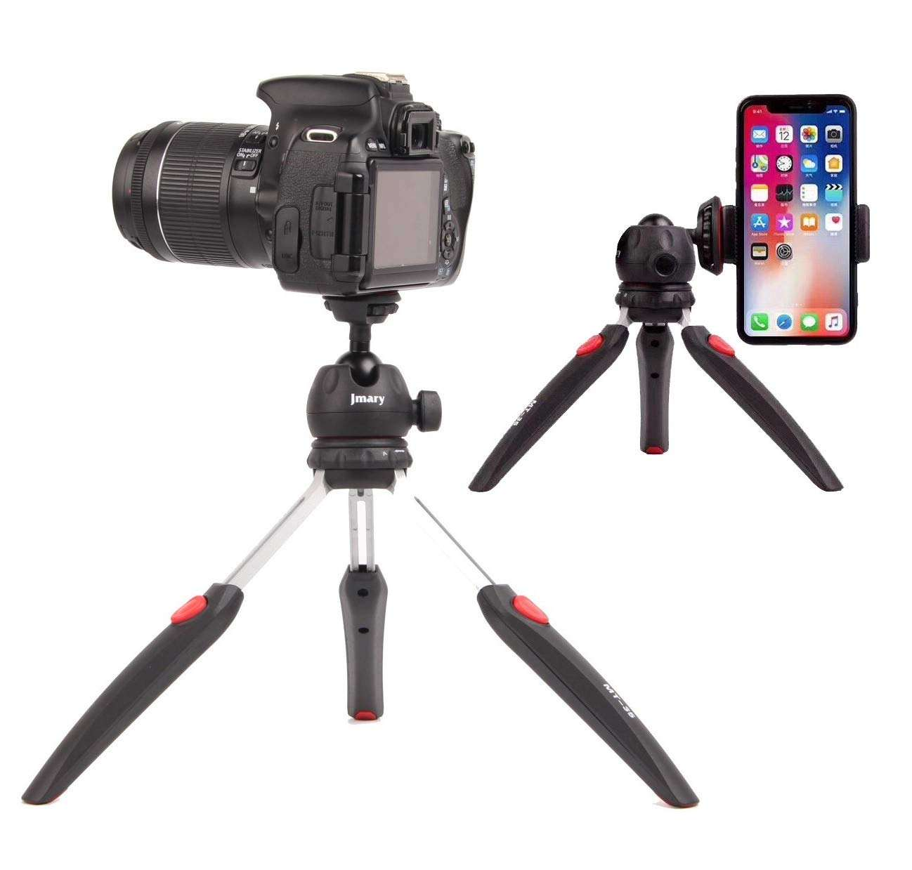 New Jmary MT-35 Table Top Mini Portable Foldable Extendable Tripod Stand for Mobile and DSLR & Digital Camera with phone holder