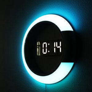 Big led clock colorful change digital mirror clock promotional wall clock