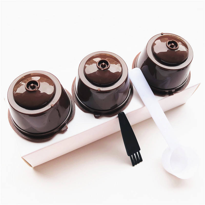 3Pcs/Set Reusable Coffee Capsules Spoon Brush Set Refillable Coffee Capsules Pod Filter Baskets For Dolce Gusto
