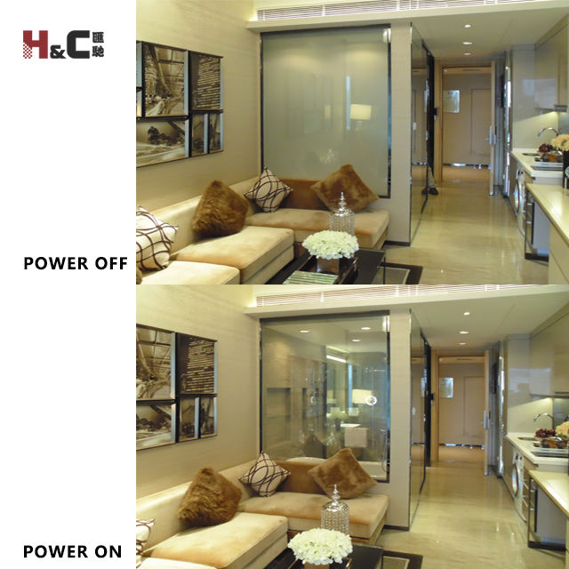Factory supply switchable pdlc smart film privacy film glass power on transparent power off frosted for hotel bathroom offices