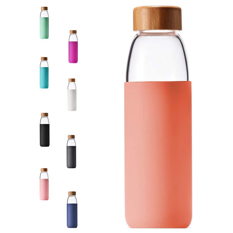 18oz Popular Pink Coffee Bottle with Protective Sleeve and Bamboo Lid Insulated Glass Tumbler for Health