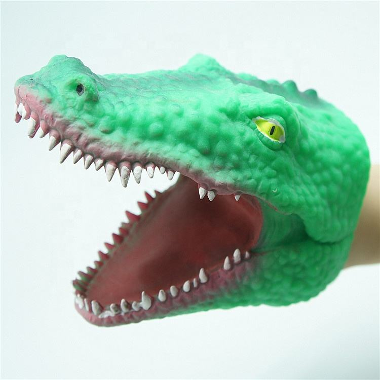 Toy OEM Factory TPR Soft Plastic Crocodile Animal Hand Puppet