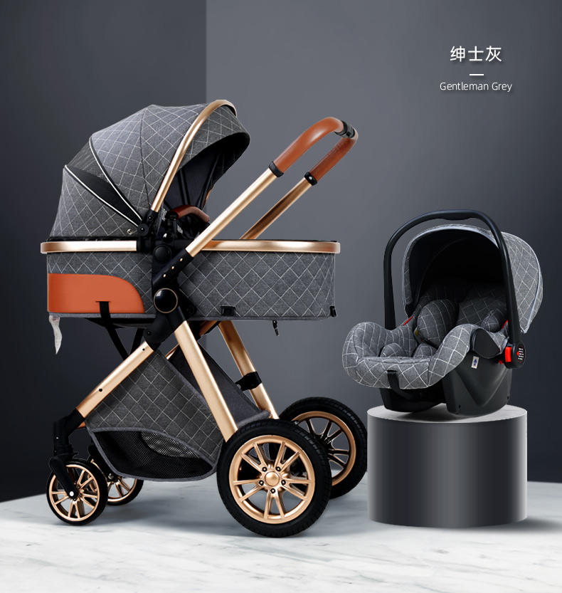 Free shipping Bolina Dropshipping New Design Luxury Baby Buggies Folding Trolley Stroller baby 3 in 1 For New Born Travel System