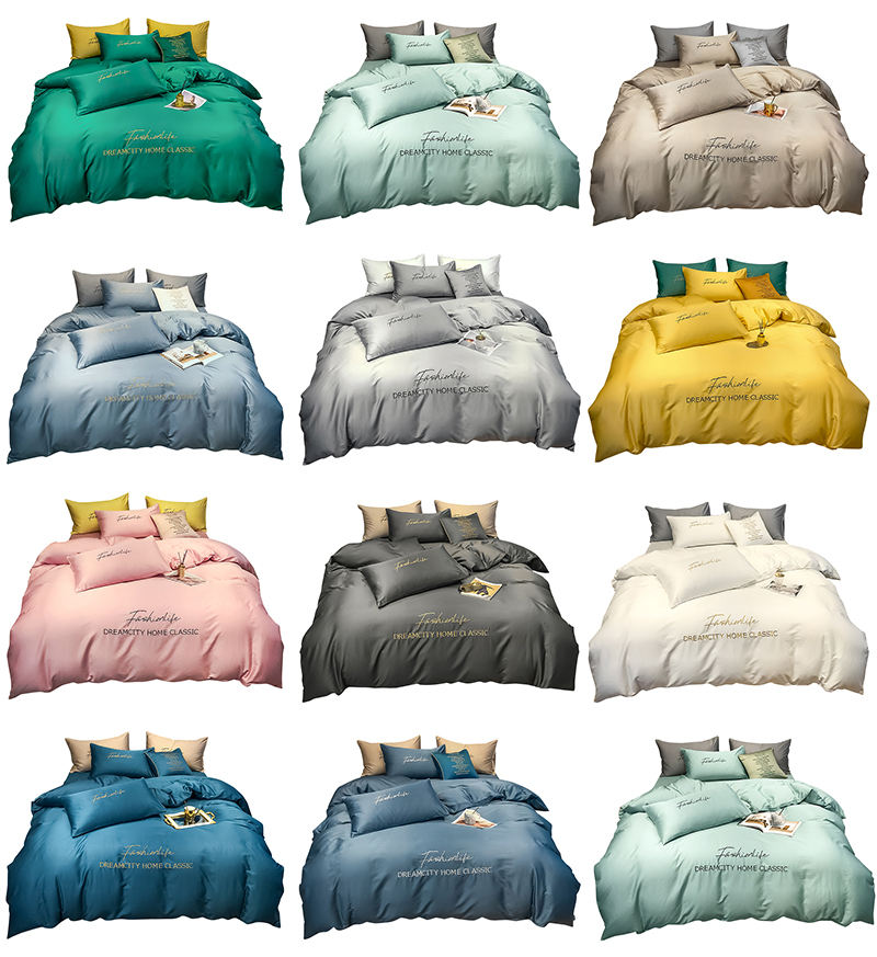 Ready To Ship Queen Size Luxury Silk Bedding Embroidered Hotel Home Choice Duvet Cover Bed Sheets 100% Cotton Bedding Set