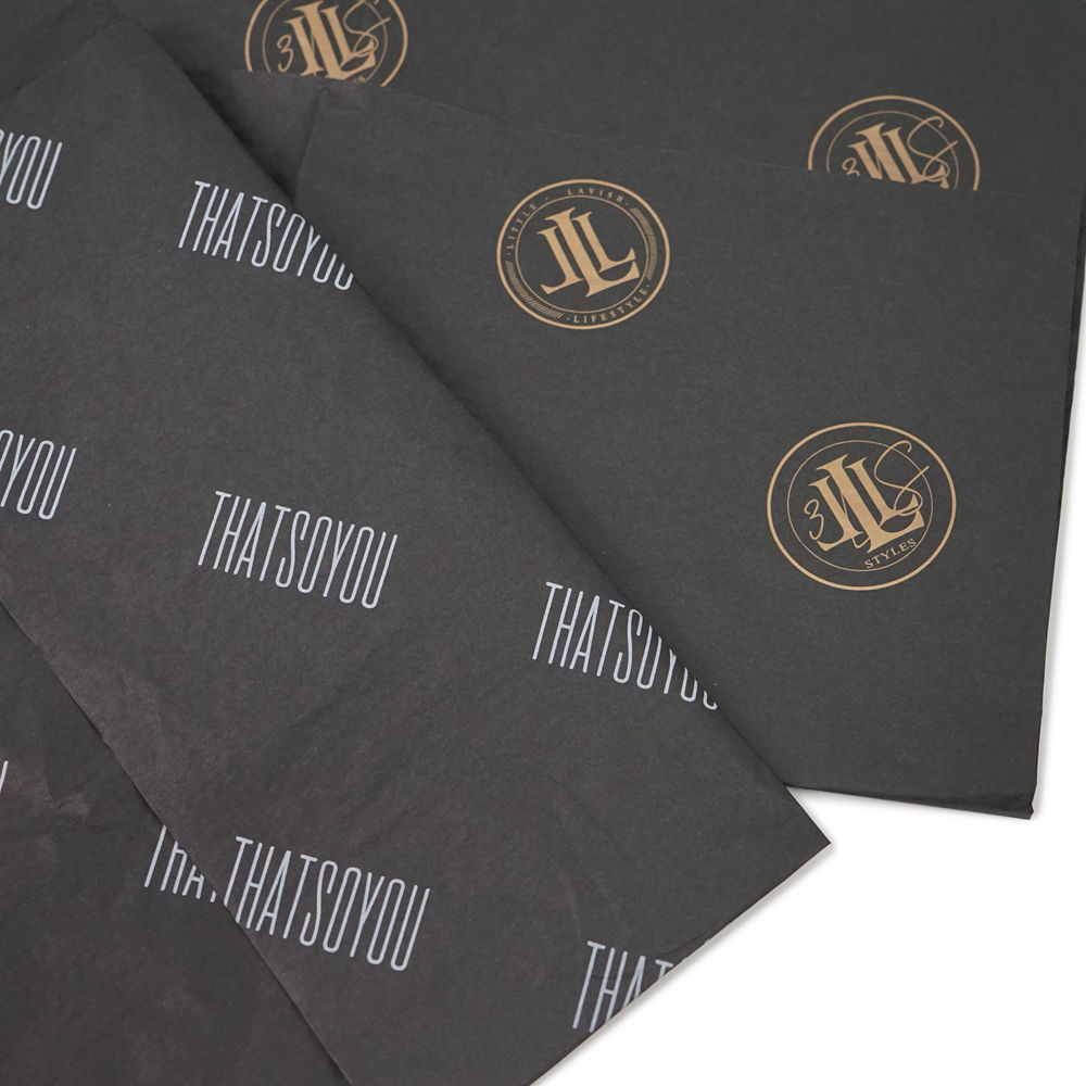 custom brand name personalized printed eco friendly black wrapping tissue paper with company logo