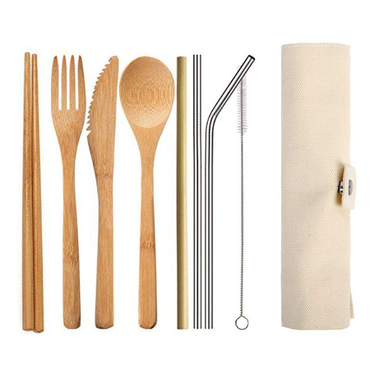 Wholesale Customized Logo Portable Outdoor Travel Tableware Straw Utensils Eco Friendly Cutlery Set Bamboo