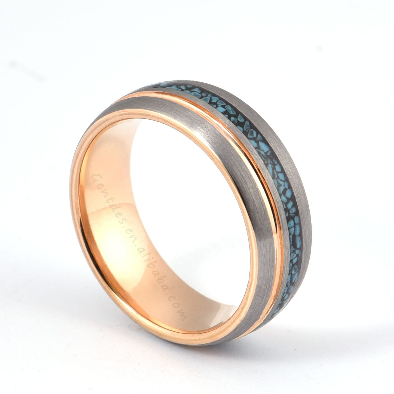 Wedding Rings Gentdes Jewelry Custom Wedding Offset Groove Crushed Turquoise Inlay Rose Gold Tungsten Ring