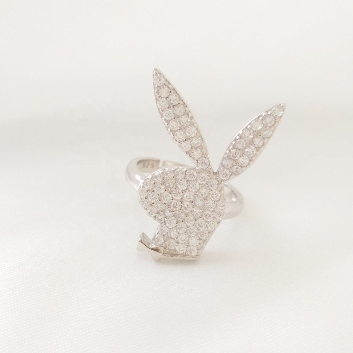 Fashion Jewelry 925 Sterling Silver Adjustable Pave Diamond CZ Animal Jewelry Bunny Rabbit Ring Women
