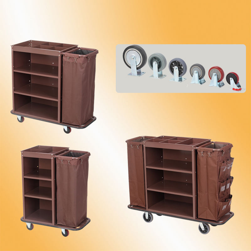 Stainless Steel Housekeeping Cleaning Cart With Canvas Bag