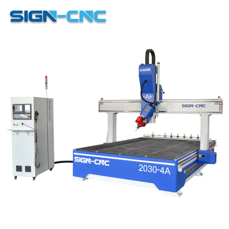 1325 1530 2030 ATC 4 Axis Wood CNC Router 180 Degree Engraving 3D Carving Machine