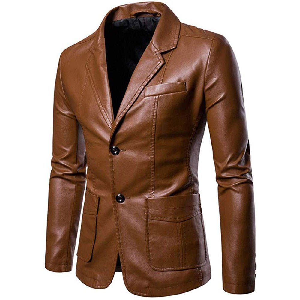 Wholesale Leather Blazers for Mens Casual Leather Jacket