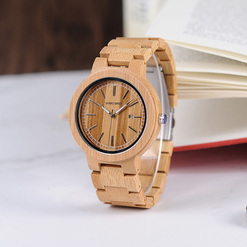 BOBO BIRD Eco-friend Simple Design Bamboo Wooden Watch with Auto Date Display