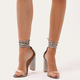 Fashionable high-heeled women's shoes with rhinestone thick heels and strappy transparent heel sandals