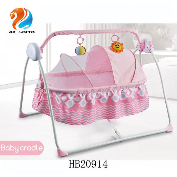 Foldable automatic babycrib electric infant swing bed baby shaking cradle with charge remote control and mosquito net