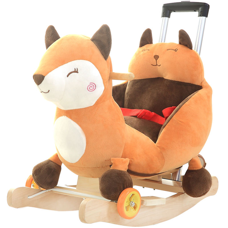 Lovely customized plush fox rocking animal horse stuffed with pp cotton baby walker toy