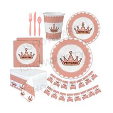 Wholesale Party Set Tableware Stylish Disposable Red Princess Crown Theme Party Supplies